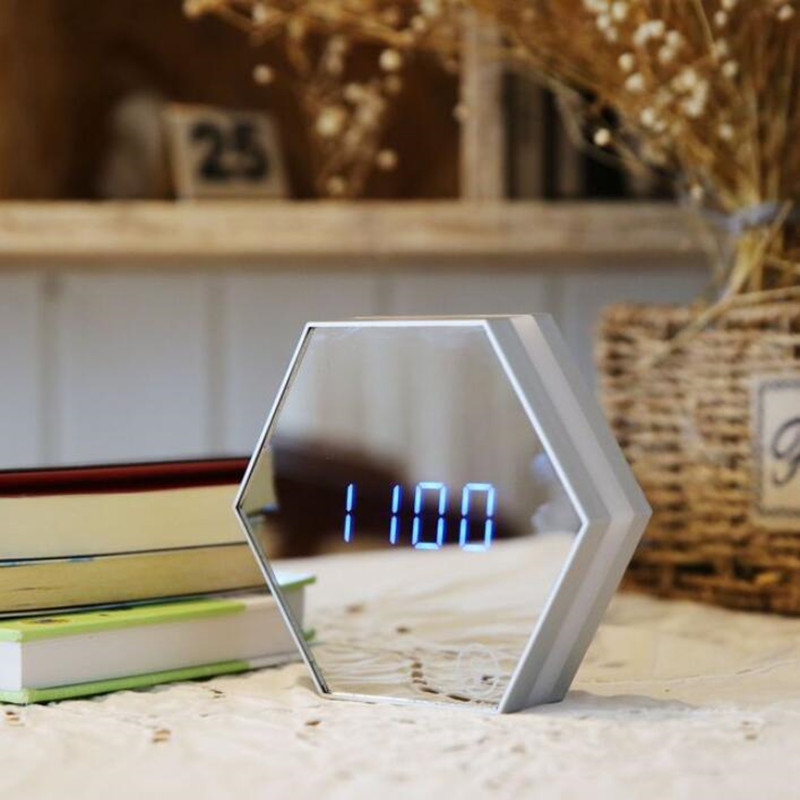 Multi function Led Mirror Digital Alarm Clock Night Light Temperature Display Mirror Thermometer Touch Sensing Table Lamp
