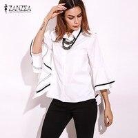 ZANZEA Women Autumn Bell Sleeve OL Wear To Work Stripe Irregular Buttons Down Shirt Tops Business