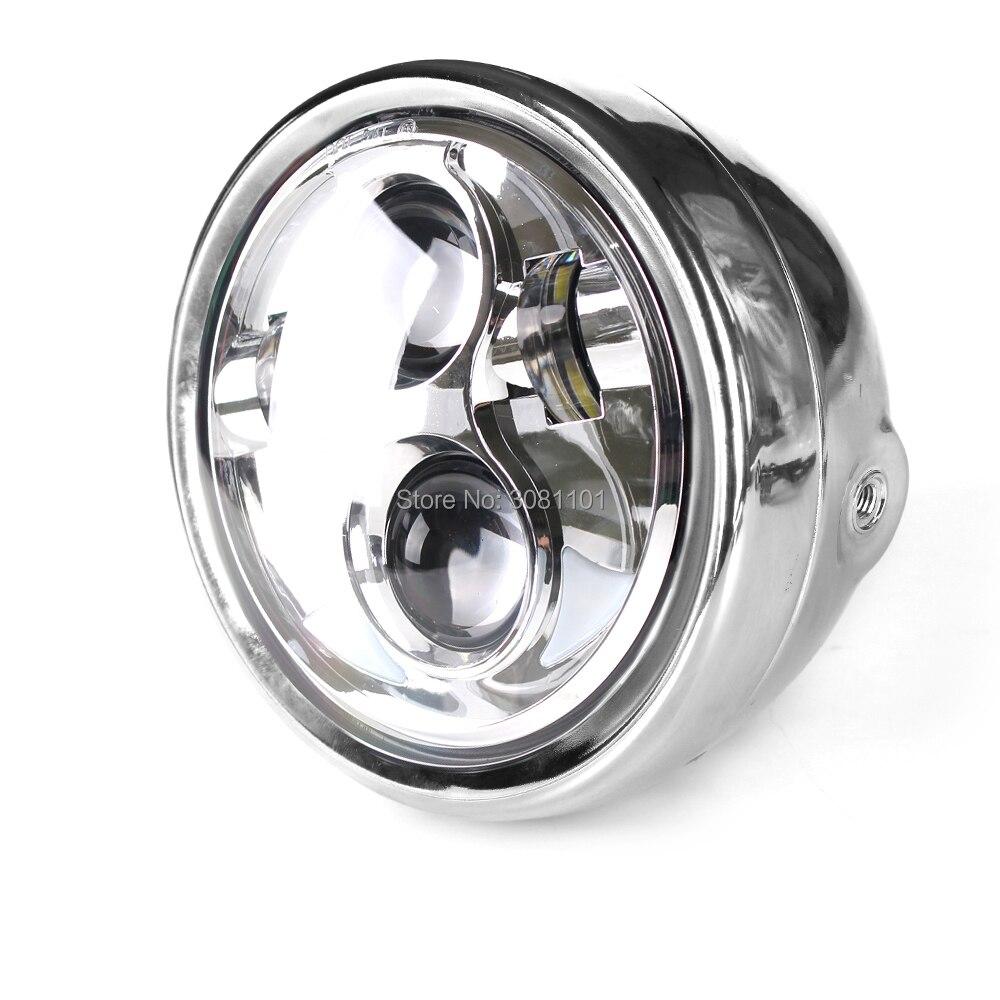 """""""5.75"""""""" 5-3/4"""""""" хромированная раковина светильника ведро с Белый DRL проектор Daymaker фары для Чопперов Харлей Мотоциклы метрических велосипеды"""""""