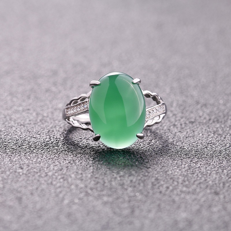 100% 925 Sterling silver Natural Stone Adjustable size Rings For Women Vintage Antique Green Chalcedony Opening Finger Rings