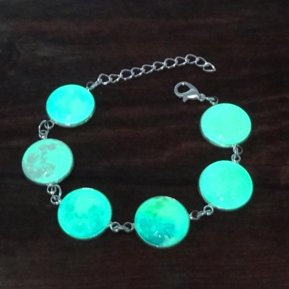 Multicolor Galaxy Moon Glass Charm Bracelet Women Luminous Jewelry Silver Plated Bracelet Femme Glow In The Dark