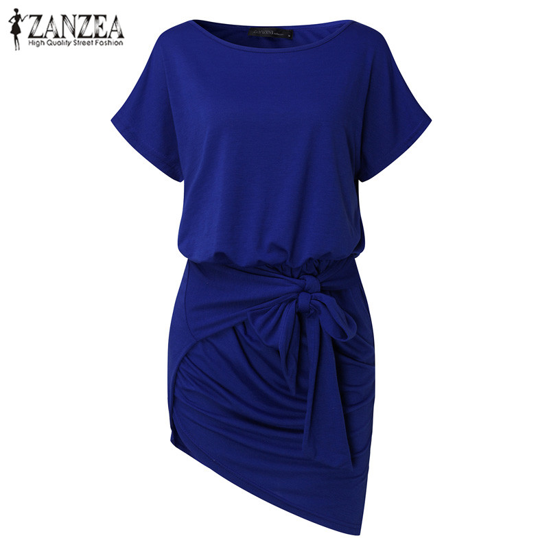 afe4702f9fca2 Plus Size ZANZEA Women Short Sleeve Round Neck Asymmetrical Banded Bottom  Dress Long Shirt Dress Tops Vestido