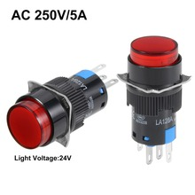 UXCELL 16mm 2Pcs Switches Momentary Push Button Switch Red LED Light Round 1 NO NC 24V Accessories