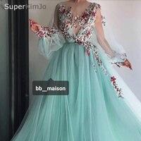 SuperKimJo Vestido De Longo De Festa Arabic Style Prom Dresses 2019 Long Sleeve Embroidery Applique Mint Green Prom Gown
