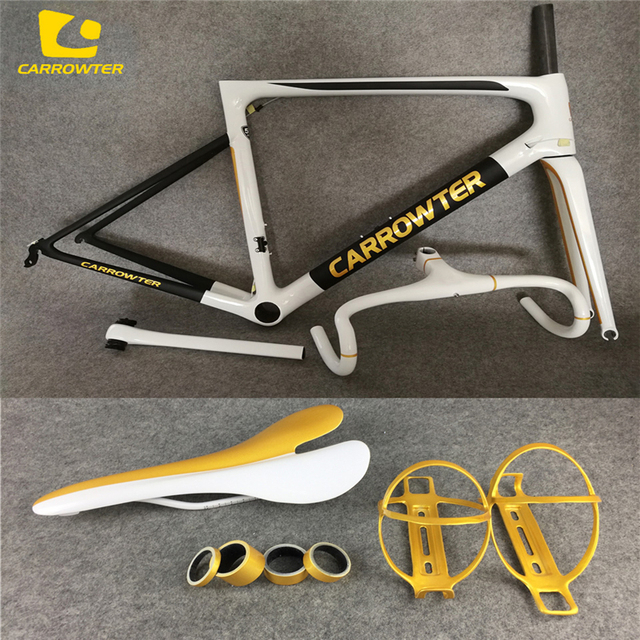 41807a2d983 Packaged for sale Road Bicycle White-Gold-Black CARROWTER carbon Frame