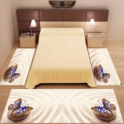 Набор из 3 предметов: желтый тропический пляж, песок, синяя бабочка, 3d принт, нескользящая микрофибра, моющийся декор, ковер для спальни
