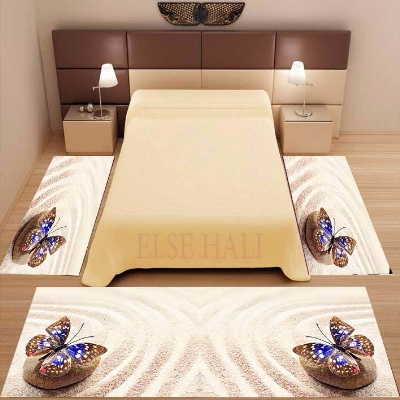 Else 3 Piece Yellow Tropical Beach Sand Blue Butterfly 3d Print Non Slip Microfiber Washable Decor Bedroom Area Rug Carpet Set