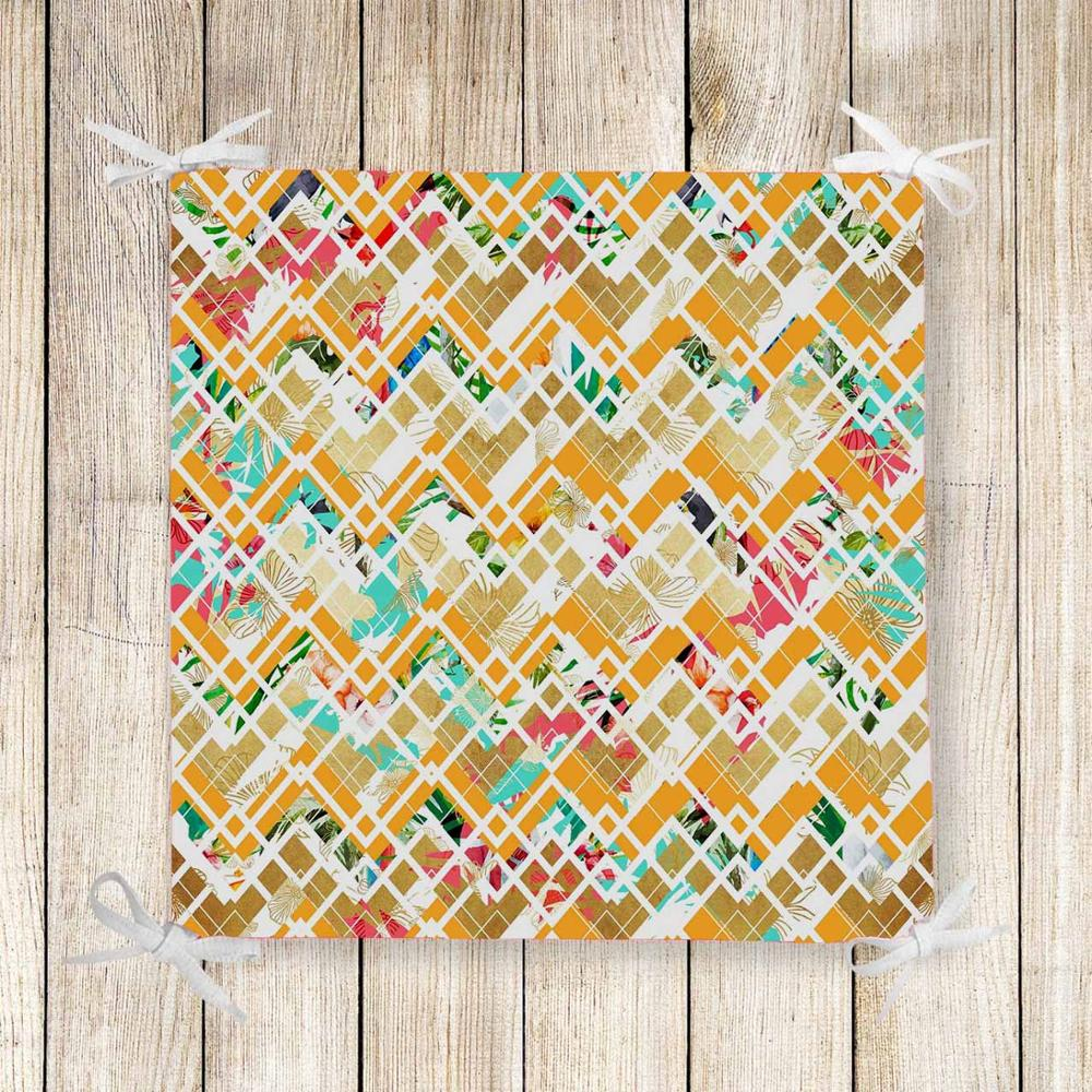 Else Yellow Green Red Geometric Lines 3d Print Chair Pad Seat Cushion Soft Memory Foam Full Lenght Ties Non Slip Washable Zipper