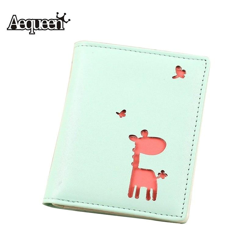 AEQUEEN Cute Wallets For Girls Small short Purses Women Wallet PU Leather Coin Purse Bifold Thin Card Holders 3D Deer Cartoon