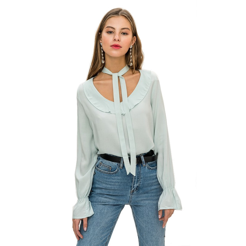 Blouses & Shirts blouse befree 1811521366-19 TmallFS self tie solid blouse