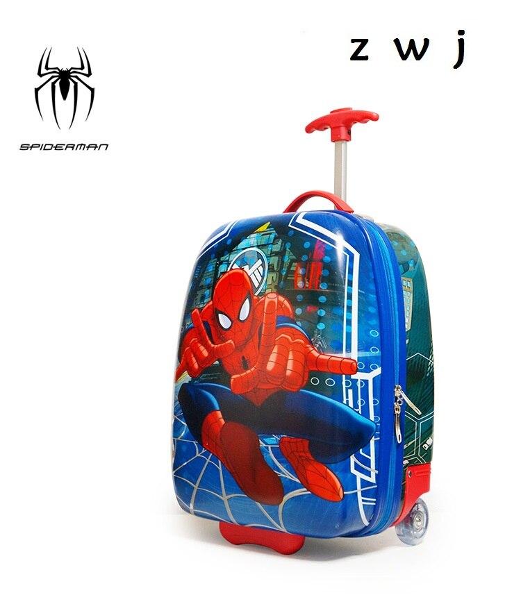 2017 Baby Neue Art Gepäck Spiderman Jungen Und Mädchen Reisen Rollgepäck Cartoon Niedlichen Koffer Internat Box Hell Und Durchscheinend Im Aussehen