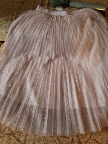 Spring Summer Tulle Skirt Women Pleated Tutu Skirt Beading A Line Mesh Midi Skirt Female Three Layer Long Elegant Skirt photo review