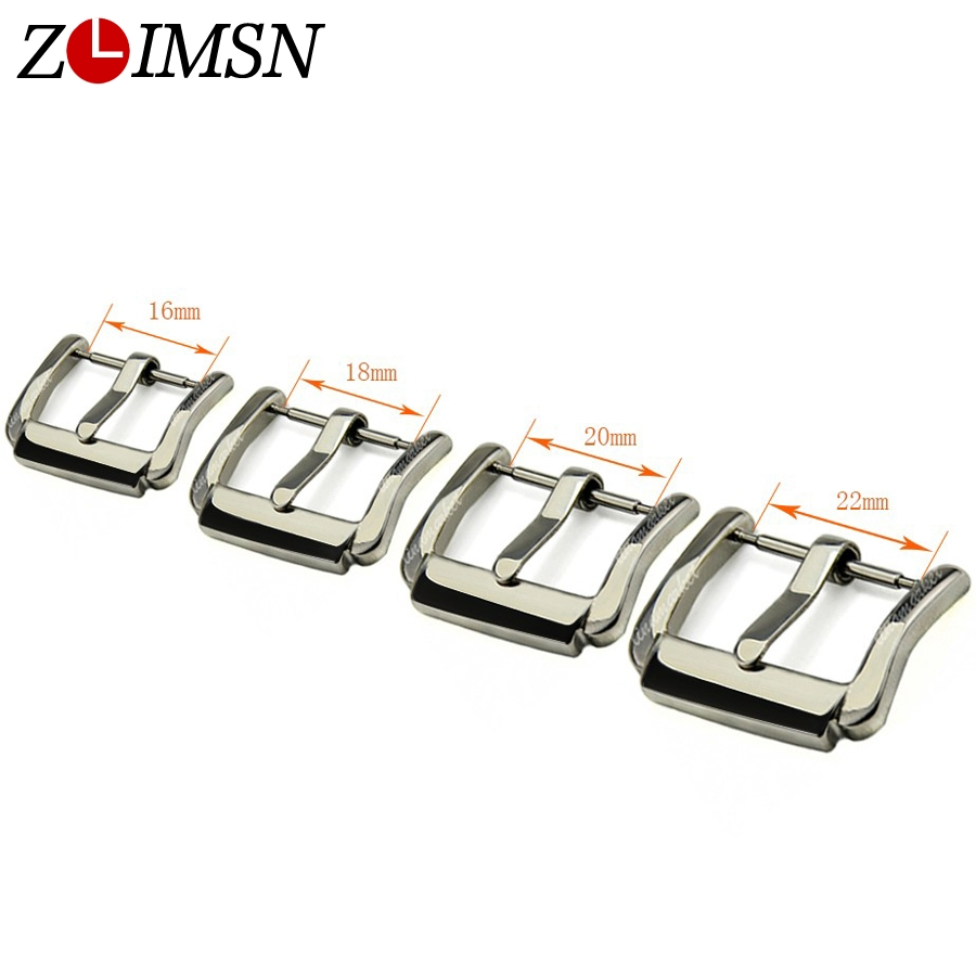 ZLIMSN 16mm 18mm 20mm 22mm Metal Silver Polished Solid Stainless Steel Watch Band Pin Belt Buckle Clasp Relojes Hombre 2017 K607 цена