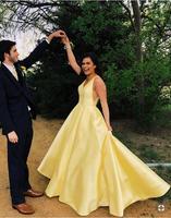 Vestido de noiva желтые вечерние платья платье из атласа для свадебной вечеринки свадебное платье 2019 Выпускные платья Robe De Soiree
