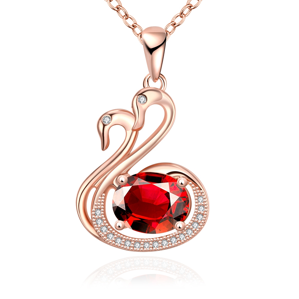 Double Goose Design Fashion Trend Style Handmade Unique Jewelry Plating Rose Gold Pendant Necklace