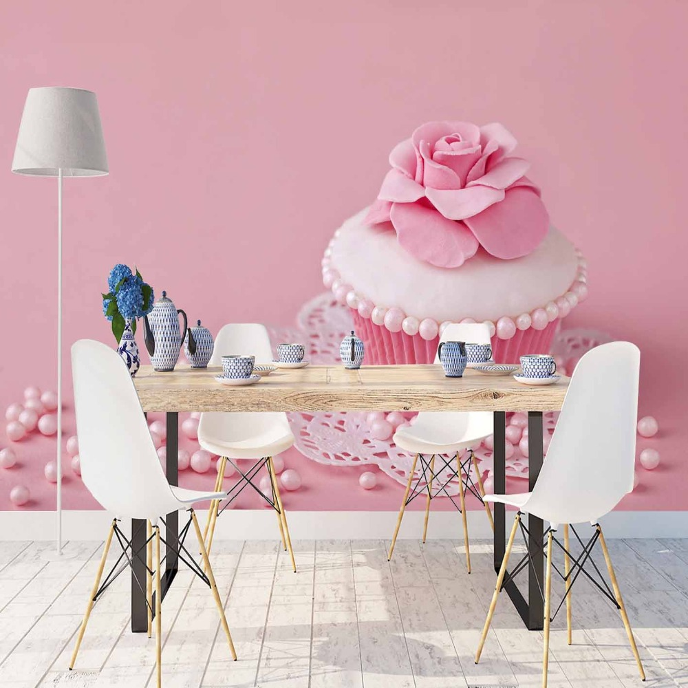Else Pink Floors Candy White Cup Cakes Roses  3d Print Photo Cleanable Fabric Mural Home Decor Kitchen Background Wallpaper