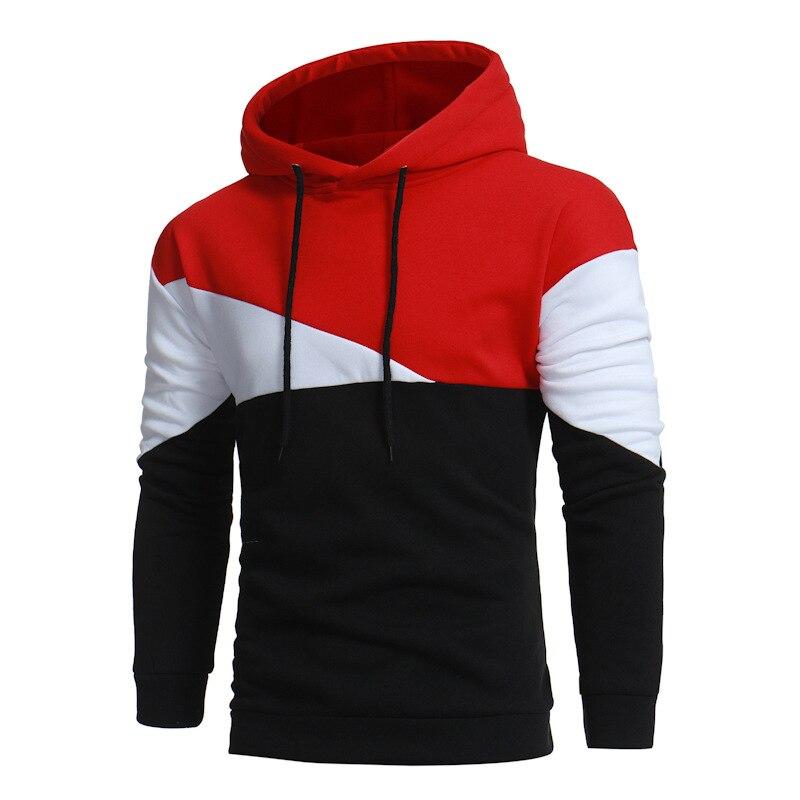 Mens Hoodies 2018 New Autumn Winter Pullovers Leisure Patchwork Color Fashion Sweatshirt Hooded Coats Hoddies Comfort Sweatshirt