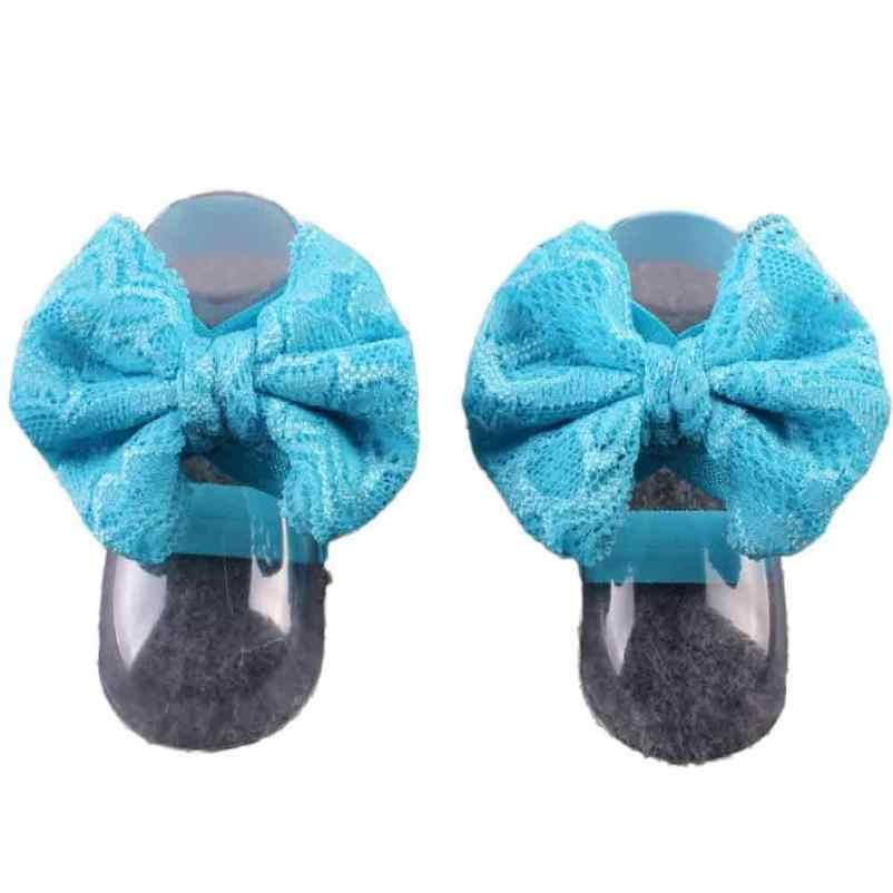 1 par Moda Sandálias Do Bebê Verão Bonito Rendas Menina Sandálias Do Bebê Com Os Pés Descalços Da Criança Do Bebê Flor Pé Tornozeleira YL1