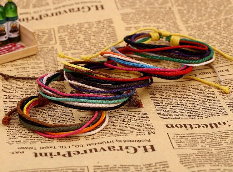 Pulseras de cuerdas de colores de moda multicapas envolver cuerdas Pulseras joyería para hombres