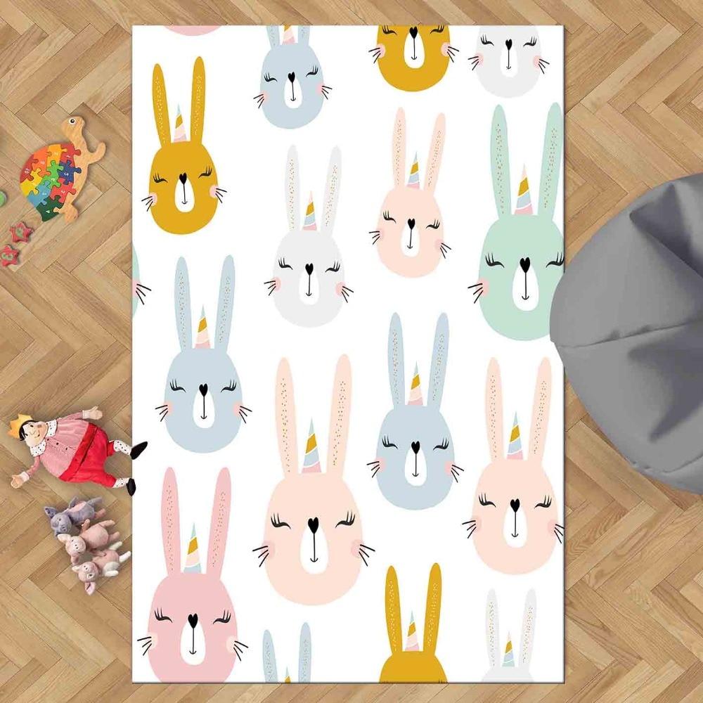 Else Blue Pink Brown Sweet Funny Rabbits Animals 3d Print Non Slip Microfiber Children Kids Room Decorative Area Rug Kids  Mat
