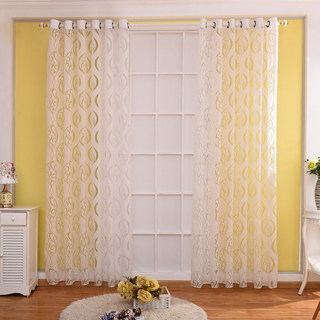 Funique 1pc pastoral white hook bobbin cut flowers curtains living funique 1pc pastoral white hook bobbin cut flowers curtains living room luxury modern curtains bedroom window mightylinksfo
