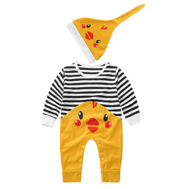 ff20b6585 US $7.63 24% OFF|Cute Infant Baby Chicken Printed Stripe Romper Jumpsuit  Hat Kids Outfits Sets on Aliexpress.com | Alibaba Group