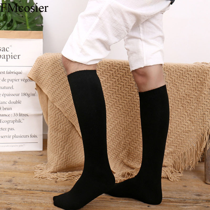 4 Pairs Winter High Quality Socks Big Size Men Thick Long Thermal Warm Terry Calf Socks Black Gray Male 39 40 41 42 43 44 45