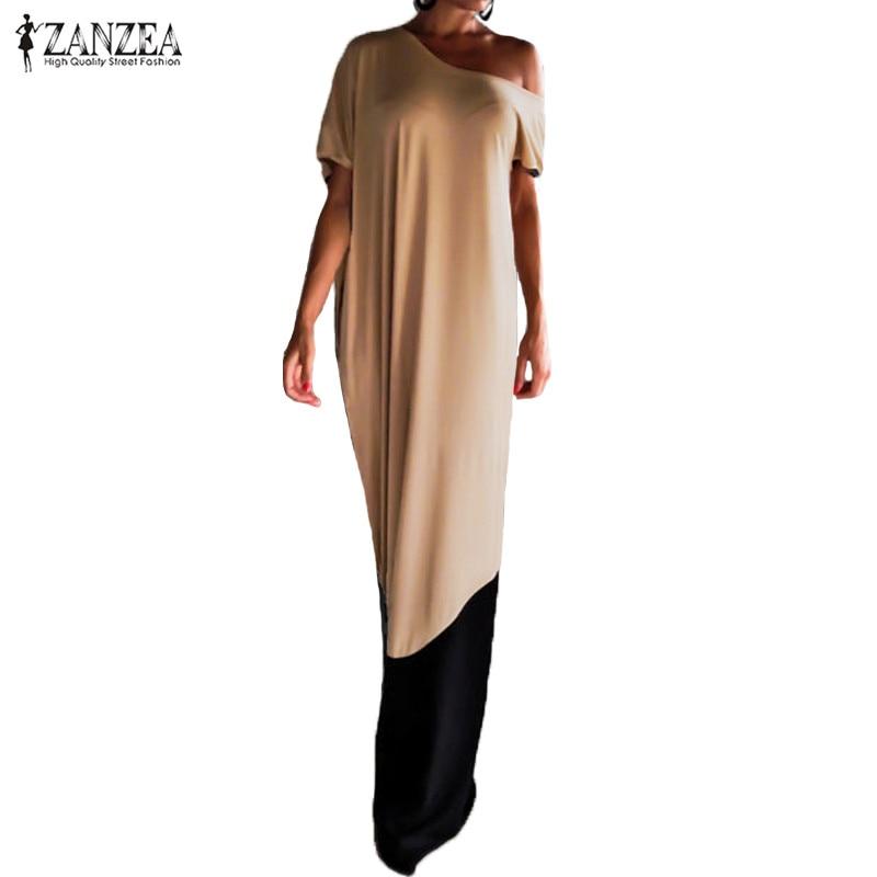 Gut Ausgebildete 2019 Zanzea Elegante Frauen Weg Schulter Kurzarm Sommer Party Maxi Lange Kleid Casual Patchwork Kaftan Vestido Plus Größe Kleider