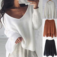Free Shipping New Women Longsleeve Loose Sweater Knitted Coat Jacket Outwear Casual V Neck Top Casual