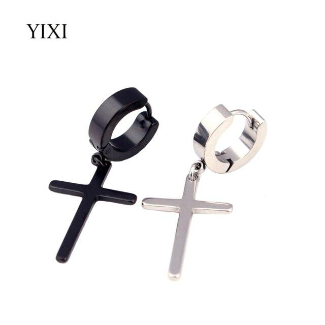 Yixi Hip Hop Earrings Silver Gold Black Stainless Steel Mens 2017 Punk Rock Jewelry Cross