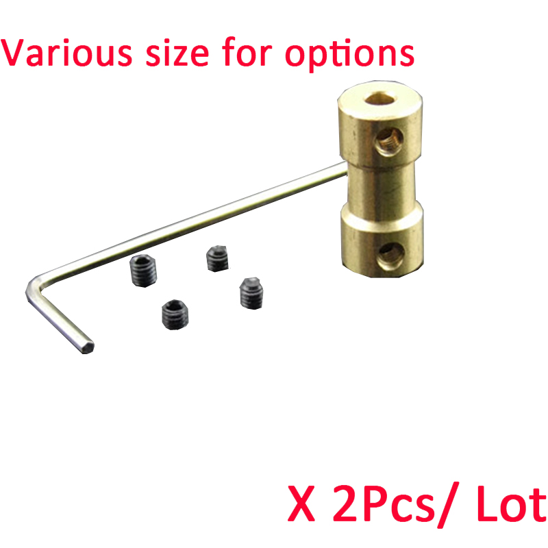 Copper Coupling Drive Shaft Connector Motor Shaft Coupling 2/2.3/3/4mm to 2/3/3.17/ 4/ 5mm with Screw for RC Boat Car&RobotCopper Coupling Drive Shaft Connector Motor Shaft Coupling 2/2.3/3/4mm to 2/3/3.17/ 4/ 5mm with Screw for RC Boat Car&Robot