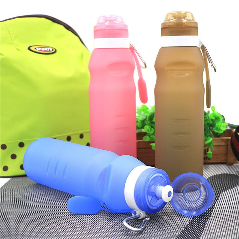 Creative drinkware 600 ml בקבוק מים מתקפל סיליקון אופניים ספורט חיצוני עם וו פלדה בקבוקי שתיית ספורט נסיעות