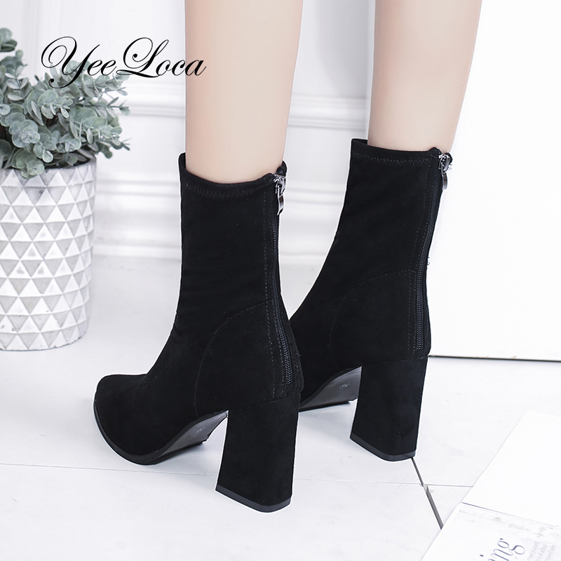 High Heels Sock Boots Women Winter 2018 Mid Calf Suede Leather Zipper Boots Black Tall Block Heel Classic Bootie Laarzen Dames manitobah унты mid classic suede mukluk женские серый