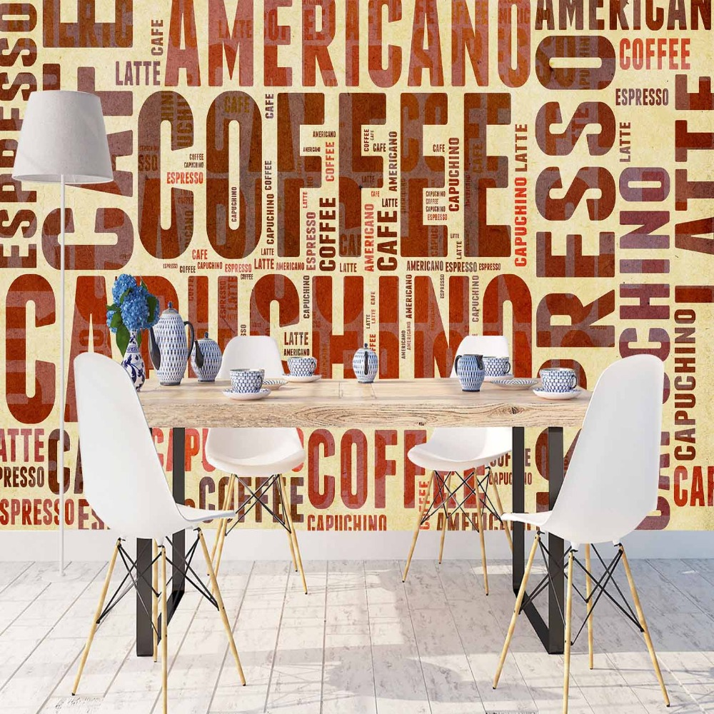 Else Big Coffee Writen Brown Yellow Americano 3d Print Photo Cleanable Fabric Mural Home Decor Kitchen Background Wallpaper