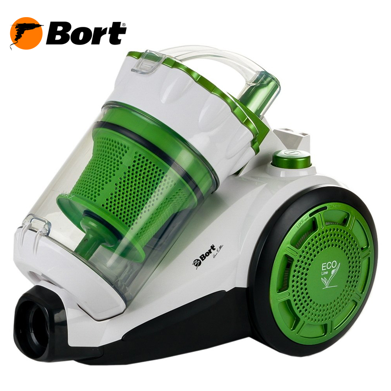 The electric vacuum cleaner Multicyclone GREEN-WHITE BORT BSS-1800N-ECO  the electric vacuum cleaner multicyclone green white bort bss 1800n eco