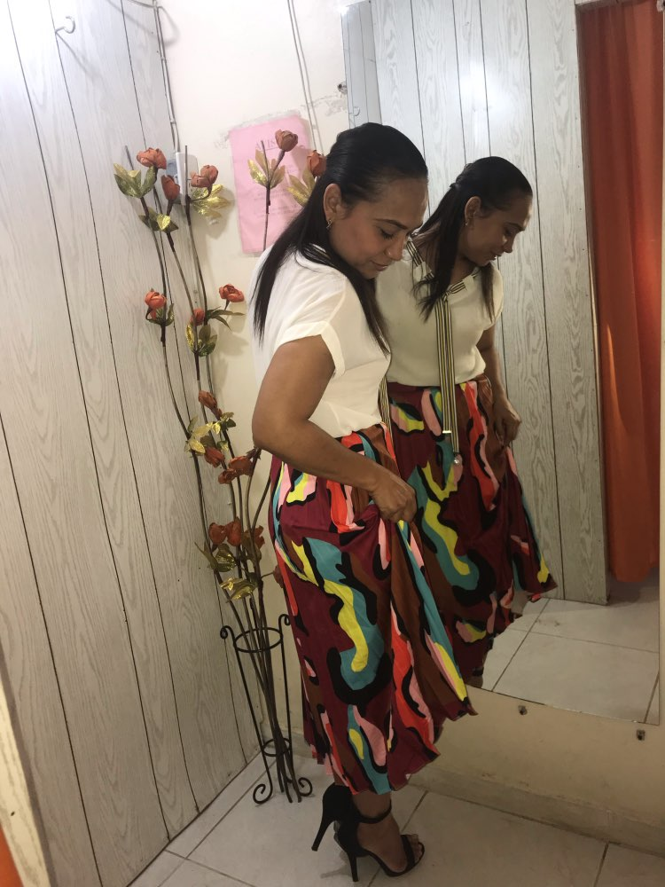 Multicolor Graphic Print Pleated High Waist Straight Long Skirt Women Autumn Weekend Casual Shift Skirts photo review