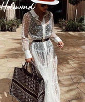 2019 Women Long Sleeves Sheer Dress See Through Polka Dots White Dress Sexy Transparent Dress robe longue