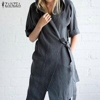 ZANZEA Women 2017 Autumn Hooded Solid Dress Casual Half Sleeve Cardigan Plus Size Outwear Vestidos Knee