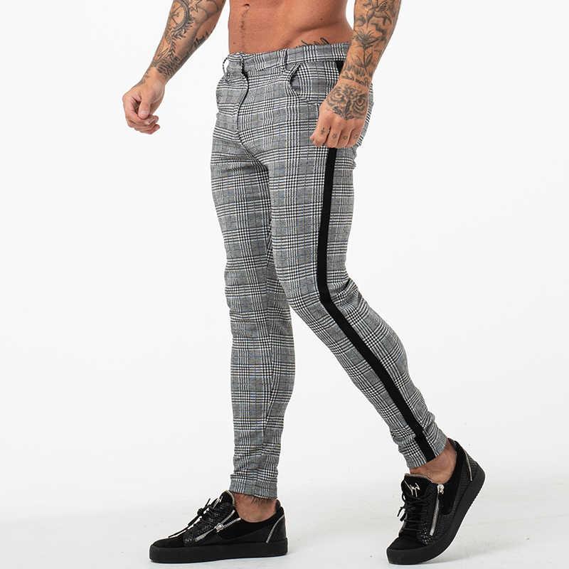 GINGTTO Men Skinny Fit Chino Black Striped Stretch Slim Dress Chinos Trousers