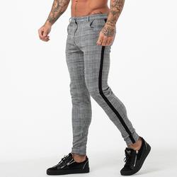 Gingtto Для мужчин s чиносы Slim Fit узкие брюки для Для мужчин Чино брюки в клетку модные серые с полосой по бокам 28-36