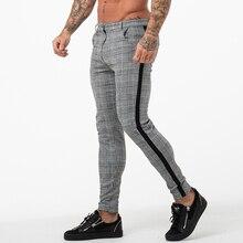 Gingtto męskie typu Chino spodnie Slim Fit Skinny dla mężczyzn spodnie Chino wzór w kratę moda szary z paskiem na stronie zm353