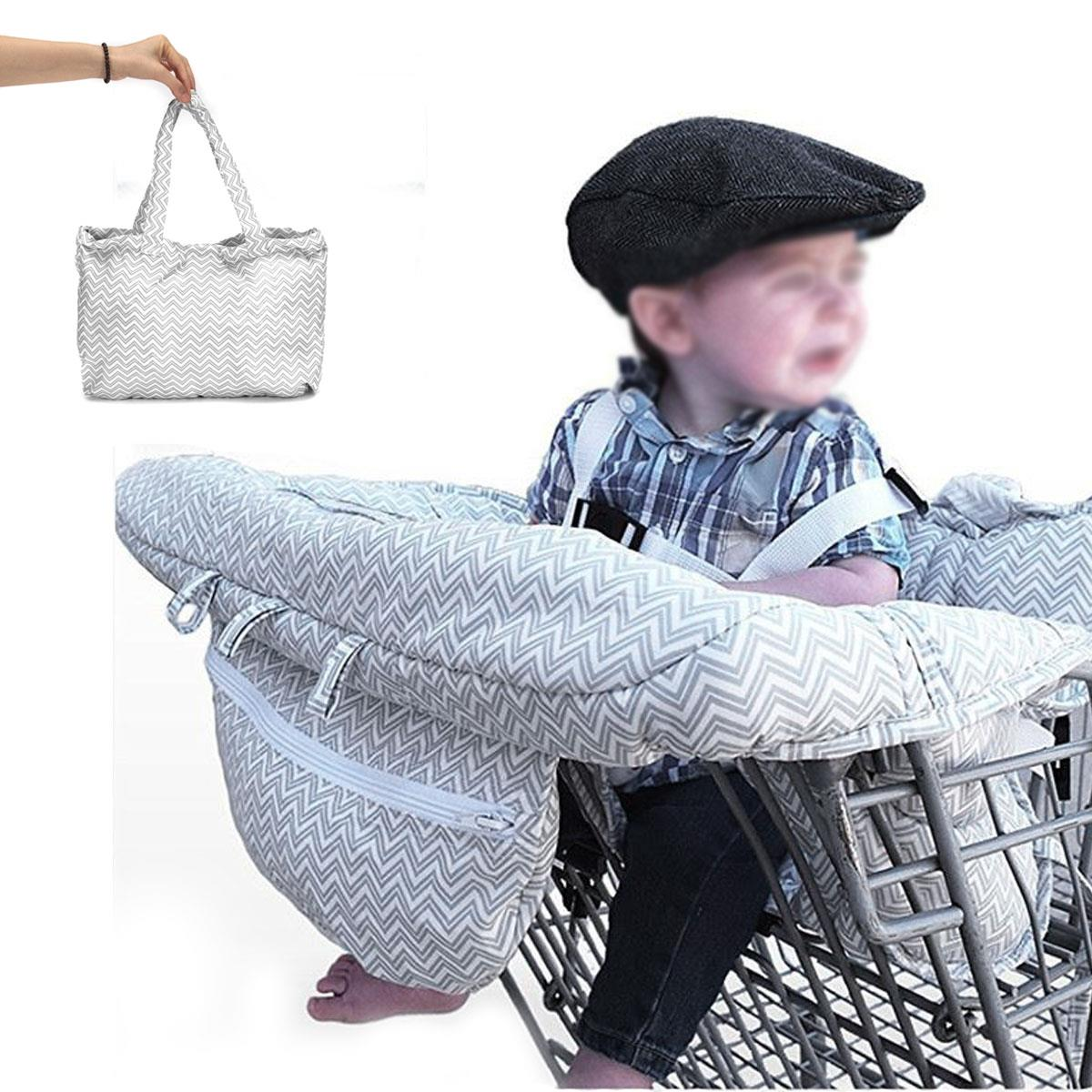Gray Baby Portable Shopping Cart Cover Pad Strap Trolley -9237