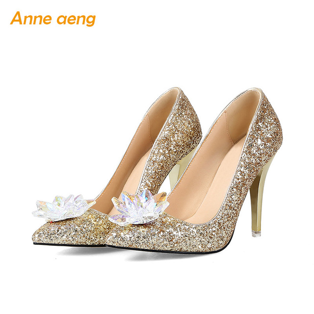 Rhinestone High Heels Wedding Shoes Pointed toe Pumps Woman Crystal Mary  Bride shoes shallow Women evening Party shoes d845514b4704