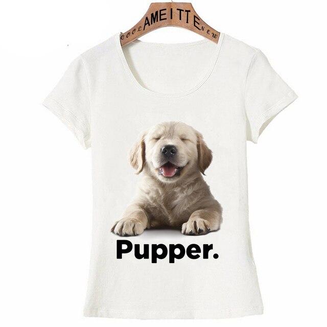 5ffa0374f1 Squint the Golden Retriever puppy Print T-Shirt Cute girl T-Shirt Funny Dog