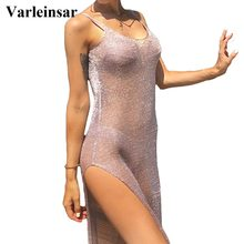 Sexy malla transparente de malla de punto Glitter túnica de playa cubrir-ups Long Beach Dress Beach Wear Beachwear mujer Robe V651(China)