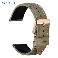 WOOCI Watch Strap 14mm 18mm 20mm 22mm Genuine Leather Strap for Men Women Green Red Replacement Belt Watchband