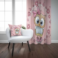 Else Pink Floral Cute Girl Baby Owls Flower Frame 3d Print Kids Baby Children Window Panel Set Curtain Combine Gift Pillow Case