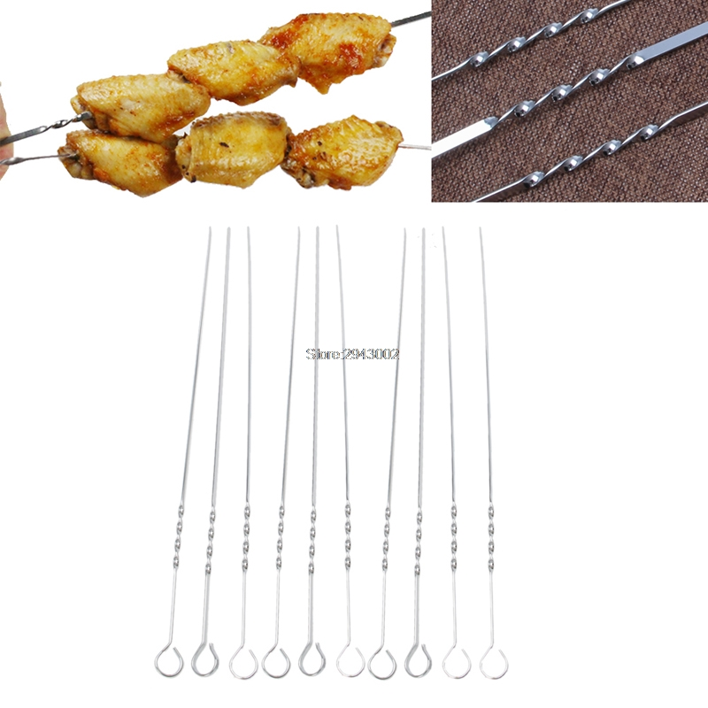 10Pcs Stainless Steel Flat Meat Skewers For Outdoor BBQ Barbecue