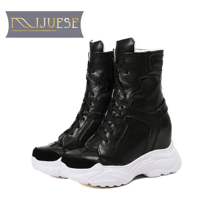 MLJUESE 2018 women ankle boots cow leather lace up white color autumn spring hidden heel wedges sneakers women boots size 32-40 cloth camouflage lace up hidden heel womens sneakers