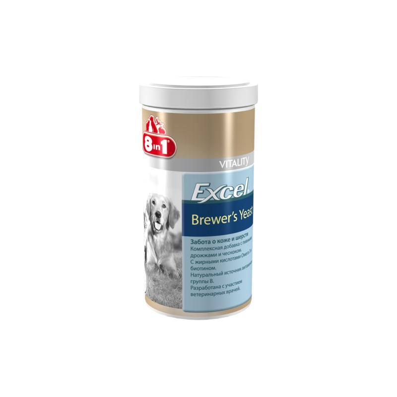 Dogs vitamins 8in1 Excel Brewer's yeast for cats and dogs 1430 tab. vitality excel brewers yeast для кошек